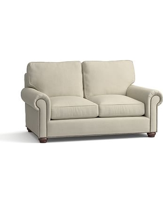 "Webster Roll Arm Upholstered Loveseat 69"" with Bronze Nailheads, Down Blend Wrapped Cushions, Premium Performance Basketweave Oatmeal"