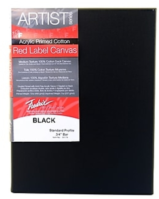 "Fredrix Red Label Black Stretched Cotton Canvas, 8"" x 10"", 4/Pack (15325-PK4),Size: med"