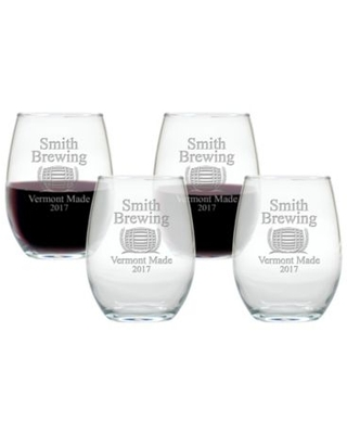Carved Solutions Brewing Stemless Wine Glasses (Set of 4)