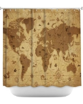 DiaNocheDesigns Whimsical World Map Shower Curtain SHO-AngelinaVickWhimsicalWorldMap Color: Beige