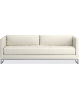 "Paxton 90"" Sofa, Down Cushion, Performance Linen Blend, Ivory, Polished Nickel"