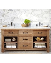 Benchwright Double Sink Console, Wax Pine Finish
