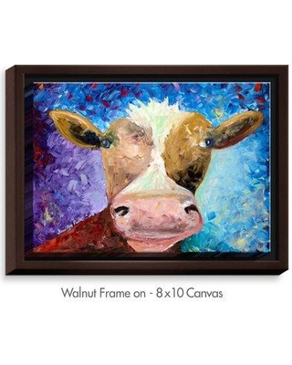 "DiaNocheDesigns 'Miss Moo' by Jessilyn Park Painting Print on Wrapped Framed Canvas DNOC1797 Frame Color: Walnut Size: 17.75"" H x 21.75"" W x 1.75"" D"