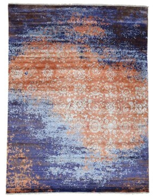 """One-of-a-Kind Pegram Hand-Knotted 2010s Modern Blue/Brown 8'10"""" x 11'10"""" Silk Area Rug"""