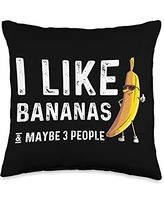 Cute Fitness Enthusiast Food Sunglasses Designs Funny Banana Gift Men Women Fruit Eater Lover Healthy Foodie Throw Pillow, 16x16, Multicolor