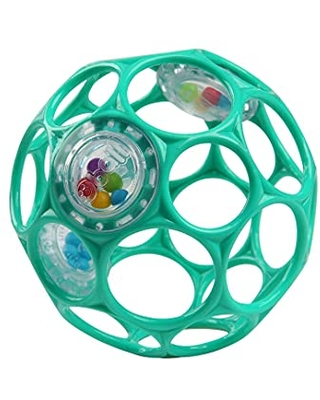 """Bright Starts Oball Rattle Easy-Grasp Toy, Teal - 4"""", Ages Newborn Plus"""