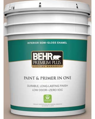 BEHR Premium Plus 5 gal. #PPU5-14 Mesa Taupe Semi-Gloss Enamel Low Odor Interior Paint and Primer in One