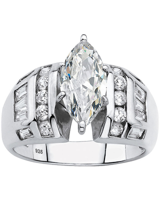 Diamonart Womens 3 1/4 CT. T.W. White Cubic Zirconia Platinum Over Silver Engagement Ring, 6 , No Color Family