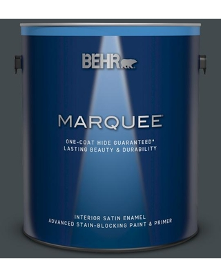 BEHR MARQUEE 1 gal. #730F-7 Black Sable Satin Enamel Interior Paint and Primer in One