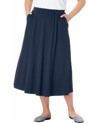 Plus Size Women's 7-Day Knit A-Line Skirt by Woman Within in Navy Blue (1X) | Cotton