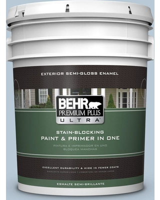 BEHR ULTRA 5 gal. #PPU14-15 Denim Light Semi-Gloss Enamel Exterior Paint and Primer in One