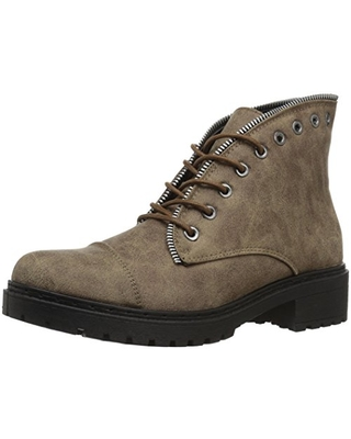 Qupid Women's POSTAL-01A Ankle Boot, TAUPE, 6 M US