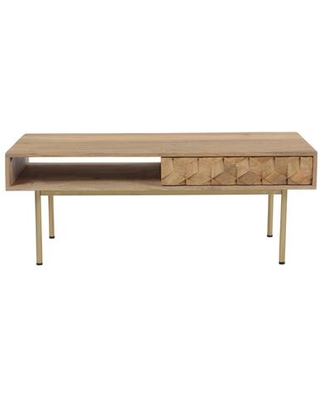 Brixton Collection BZ-1101-24 Coffee Table with Brass-Finished Iron Legs in Natural