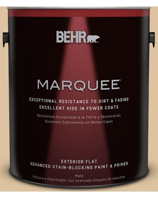 BEHR MARQUEE 1 gal. #S300-3 Almond Cookie Flat Exterior Paint and Primer in One