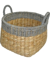 Round Seagrass Wicker Storage Basket with Gray - Threshold