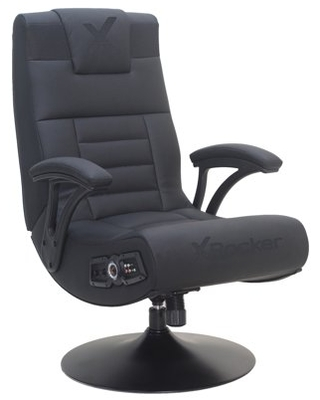 X Rocker Covert 2.1 Wireless Audio Console Gaming Chair with Pedestal, Black