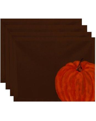 August Grove® Pickrell Pumpkin Holiday Print 4 Piece Placemat Set BUHS9234 Color: Brown