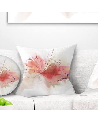 """Floral Watercolor Flower Sketch Pillow East Urban Home Size: 18"""" x 18"""", Product Type: Throw Pillow"""