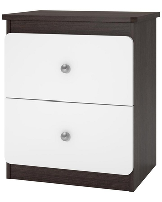 Cosco Willow 2-Drawer White and Coffee House Plank Nightstand, White/Coffee House Plank