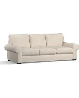 "Turner Roll Arm Upholstered Sofa 3-Seater 90"", Down Blend Wrapped Cushions, Twill Cream"