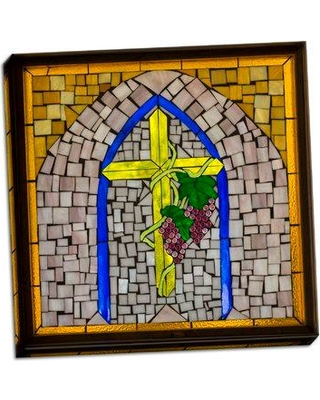 Astoria Grand 'Stained Glass Cross I' Graphic Art Print on Wrapped Canvas BF053609