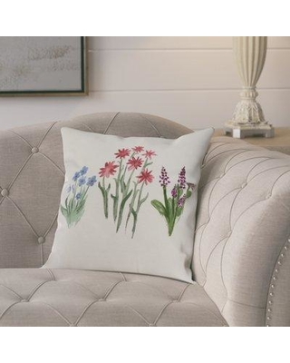 "Ophelia & Co. Kaylor Flower Trio Indoor/Outdoor Throw Pillow OPCO6878 Color: Light Blue Size: 18"" x 18"""