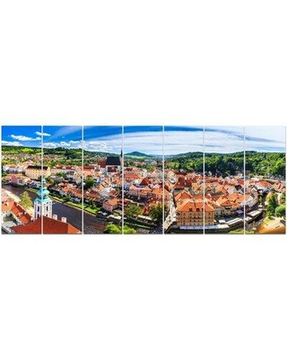 Design Art 'City Aerial View Panorama' Photographic Print Multi-Piece Image on Canvas, Canvas & Fabric in Brown/Blue/Orange | Wayfair PT15668-732