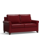 """Cameron Roll Arm Leather Loveseat 66"""", Polyester Wrapped Cushions, Leather Signature Berry Red"""