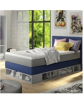 Zoomie Kids Extra Long Twin Platform Bed with Mattress ZMIE5939 Color: Blue