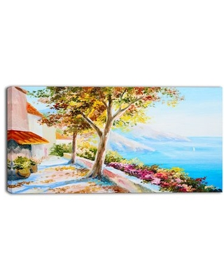 Savings On House And Sea In The Fall Landscape Painting Print On Wrapped Canvas Design Art Size 16 H X 32 W