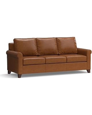 """Cameron Roll Arm Leather Sofa 90.5"""", Polyester Wrapped Cushions, Leather Signature Maple"""