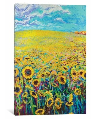 Discover Deals On Iris Scott Sunflower Triptych Panel I Painting Print On Wrapped Canvas Red Barrel Studio Size 40 H X 26 W X 0 75 D