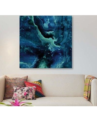 """East Urban Home 'Stone with Blue and Green' Graphic Art Print on Canvas EBHV1482 Size: 37"""" H x 37"""" W x 1.5"""" D"""