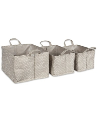 DII Assorted PE Coated Tribal Chevron Laundry Bins, Set of 3, Woven Paper, Multiple Colors