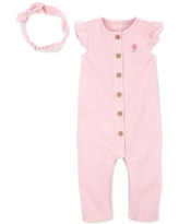 Carter's Baby Girl 2-Pc. Crinkle Jersey Jumpsuit & Headband - Pink