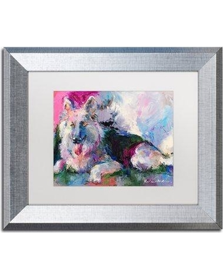"Trademark Art 'German Shepherd' Print on Canvas ALI5904- Size: 11"" H x 14"" W x 0.5"" D Format: Silver Framed Matte Color: White"