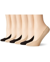 PEDS Women's Ultra Low Microfiber Liner with Gel Tab, Black/Nude (6 Pairs), Shoe Size: 5-10