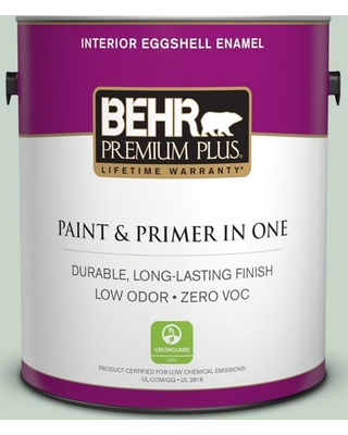 BEHR PREMIUM PLUS 1 gal. #S410-2 New Moss Eggshell Enamel Low Odor Interior Paint and Primer in One