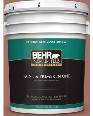 BEHR Premium Plus 5 gal. #200F-5 Toasted Nutmeg Semi-Gloss Enamel Exterior Paint and Primer in One