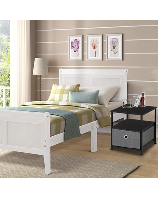 Nightstand 1-Drawer Shelf Storage- Bedside Furniture,Accent End Table (Grey)
