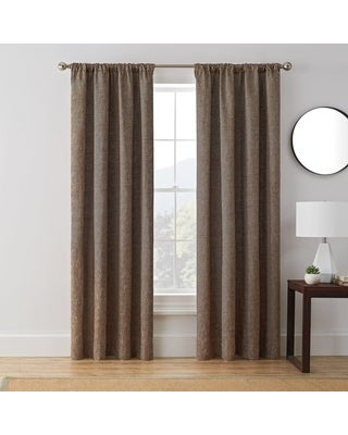 Brookstone Troy 100-Percent Blackout Window Curtain Panel (63 Inches - Brown)
