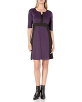 Star Vixen Women's Elbow Sleeve Colorblock Fit N Flare Dress, Purple/Black, Medium