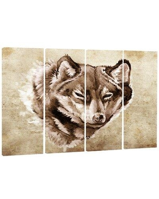 Deals For Design Art Wolf Head Tattoo Sketch 4 Piece Wrapped Canvas Graphic Art Print Set On Canvas Canvas Fabric In Brown Size Medium 25 32 Wayfair