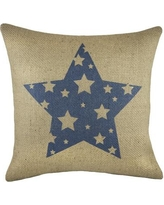 TheWatsonShop Star Burlap Throw Pillow BBLUESTARISO