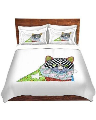 East Urban Home Cat Duvet Cover Set W000441543 Size: 1 Queen Duvet Cover + 2 Standard Shams Color: Red/Black/Green