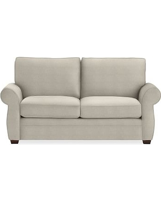 """Pearce Roll Arm Upholstered Loveseat 73"""", Down Blend Wrapped Cushions, Performance Heathered Tweed Pebble"""