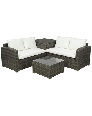 Boyel Living 4-Pieces Cushioned PE Rattan Wicker Outdoor Sectional Sofa Set Garden Patio Furniture Set with Beige Cushion