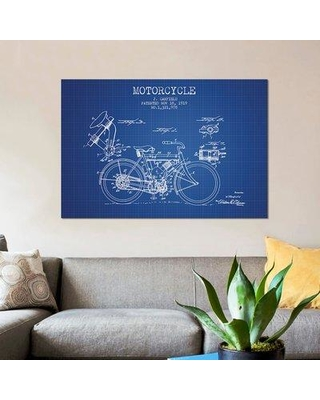 """East Urban Home 'J. Canfield Motorcycle Patent Sketch' Graphic Art Print on Canvas in Blue Grid ERBR0156 Size: 8"""" H x 12"""" W x 0.75"""" D"""