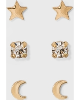Moon and Star Earring Set 3ct - A New Day Gold, Size: Small