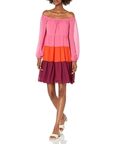 BCBGMAXAZRIA Women's Off The Shoulder Color Block Cocktail Dress, Shocking Pink, X-Small